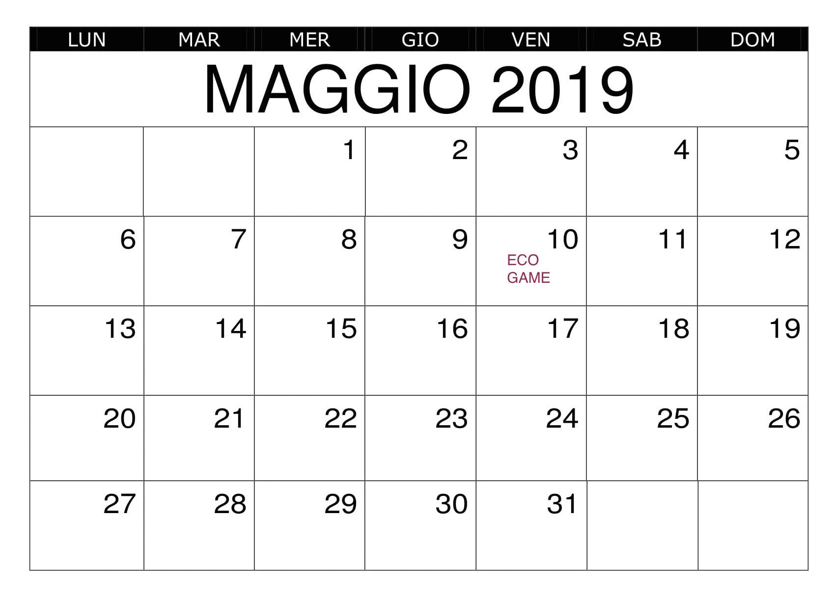 Calendario Coinger 2020.Ecogame Coinger